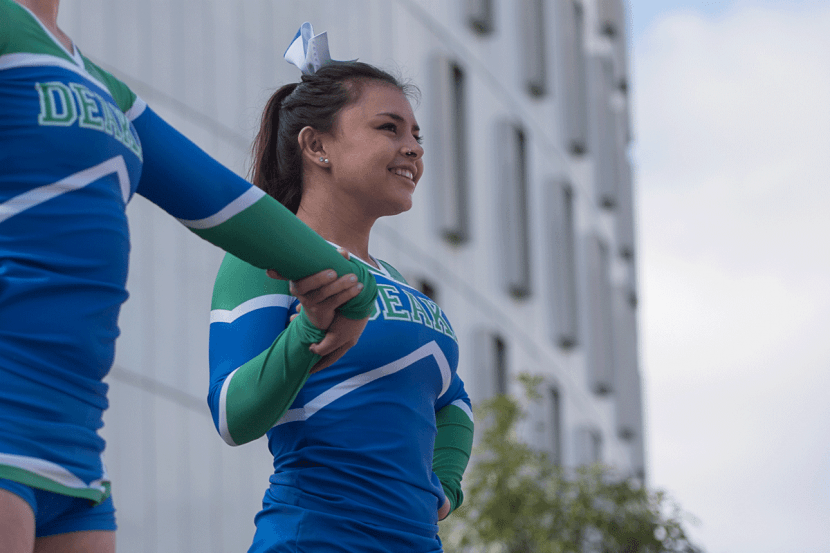 Deakin cheerleading captain, Sarah Morris