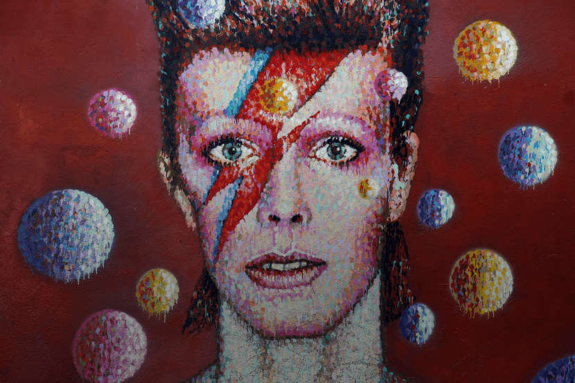 Painting of David Bowie's face