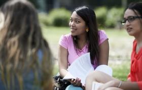Female university students talking