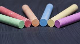 Coloured chalk on blackboard