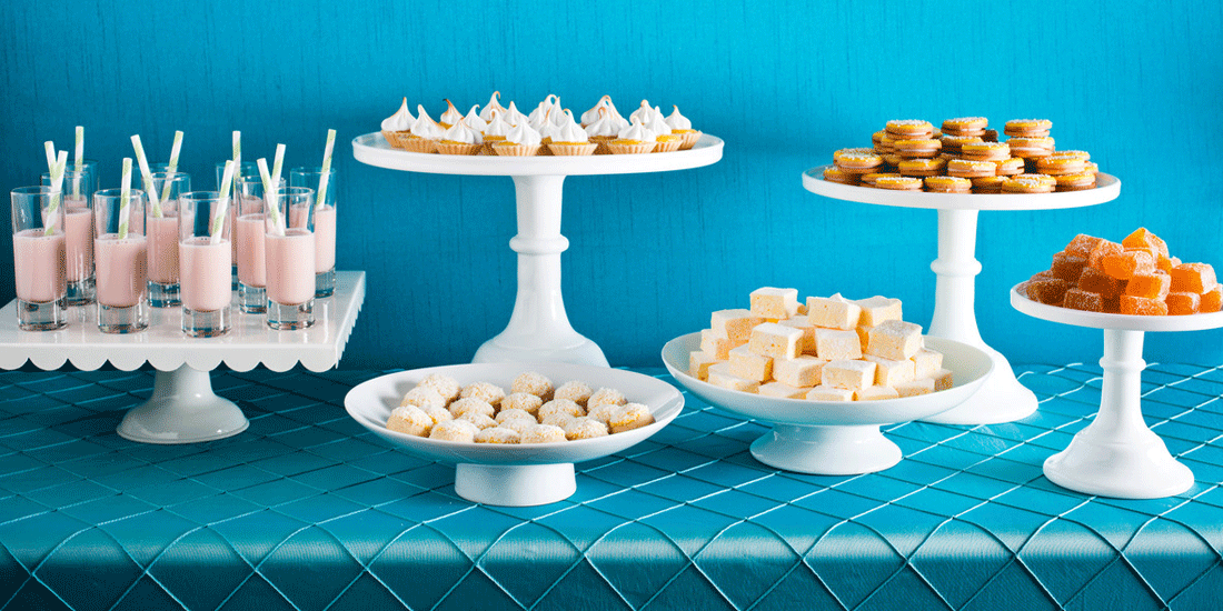 Desserts against a blue background