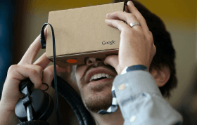 Man using Google Cardboard