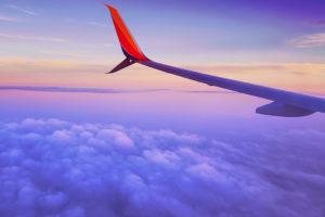 Plane wing in flight