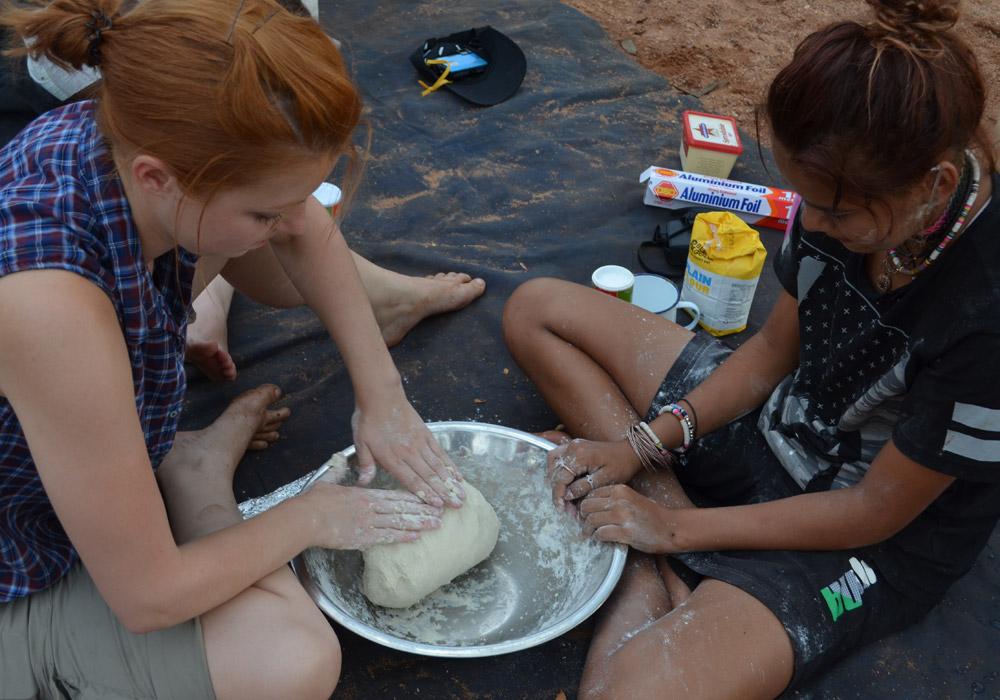 Deakin student Sophie Jaimeson making damper