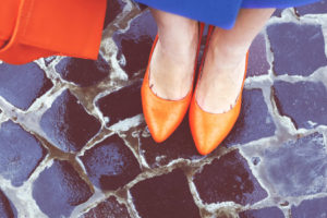 Orange heels on bluestrone