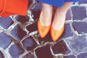 Orange heels on bluestrone