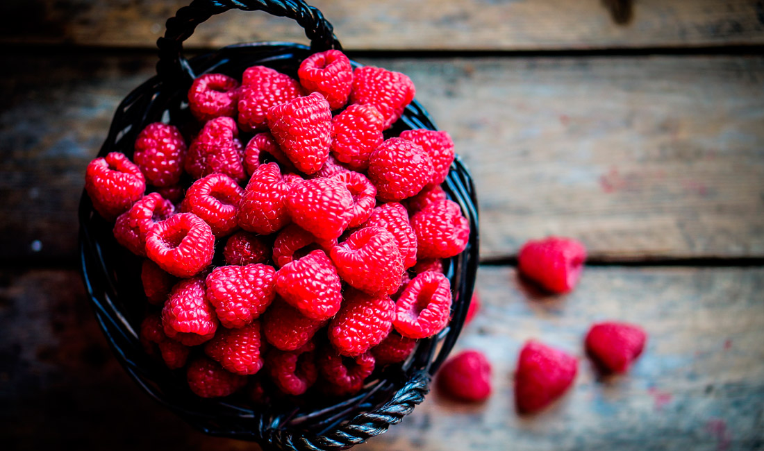 Raspberries in a basket