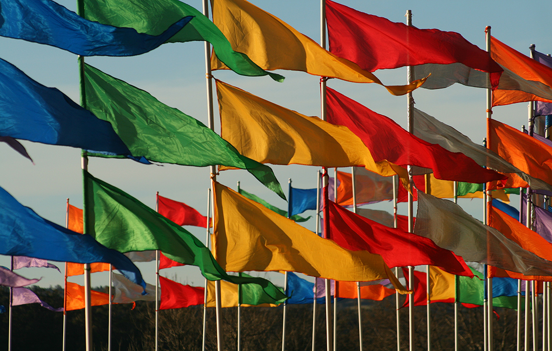 Colourful flags flapping in the breeze