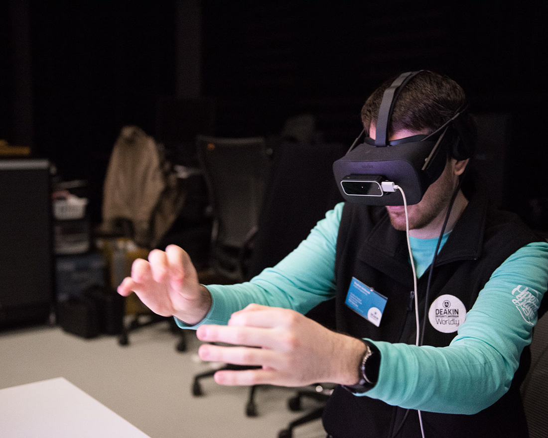 man using VR equipment