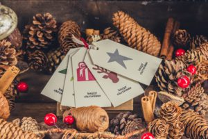 Christmas cards and pine cones