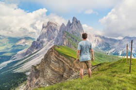Man looking at beautiful mountain