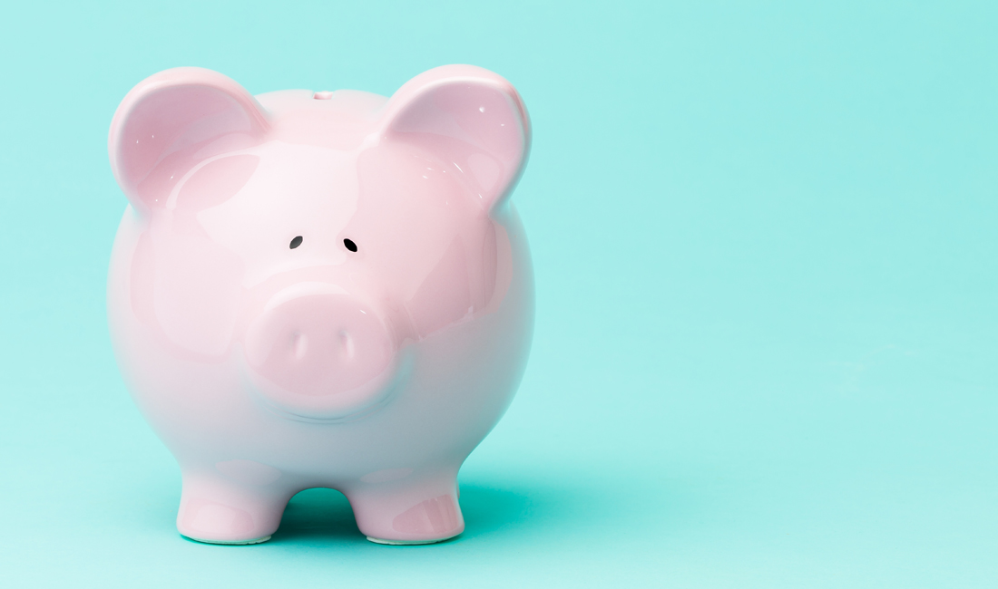 Piggy bank blue background