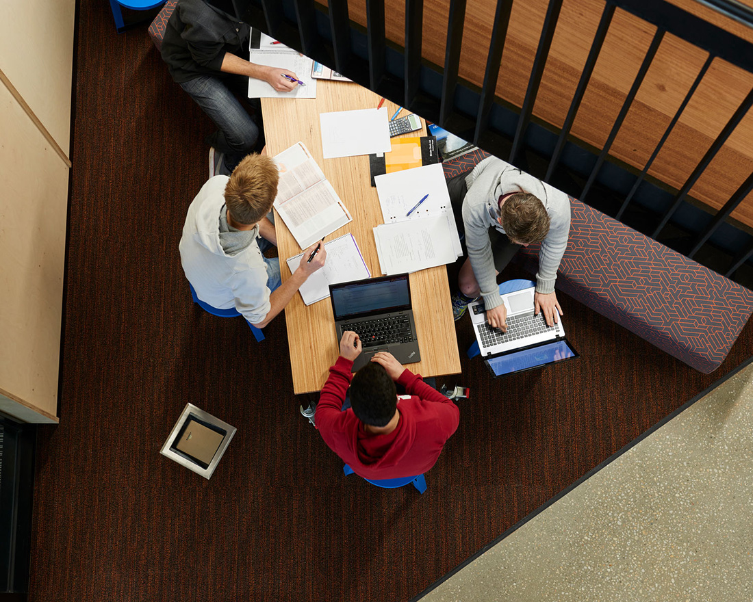 Students sitting around a table studying