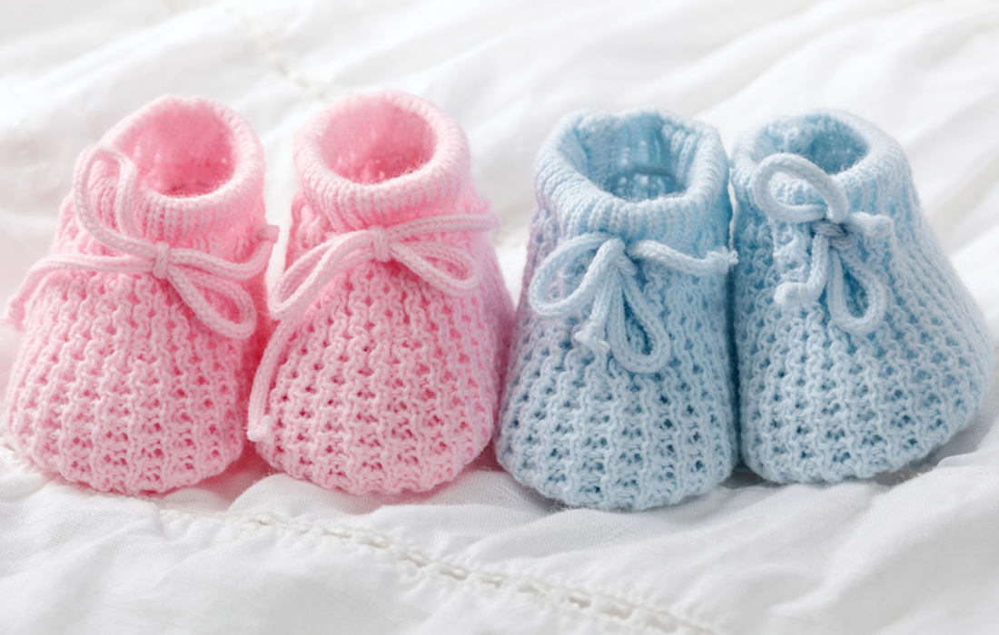 Pink and blue booties