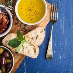Greek food on blue table