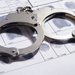 Handcuffs and fingerprints of a suspect.