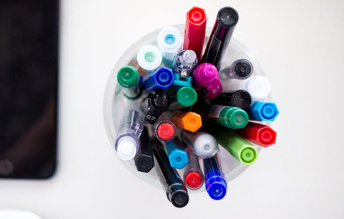 pens in jar