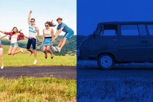 van-and-people-in-field