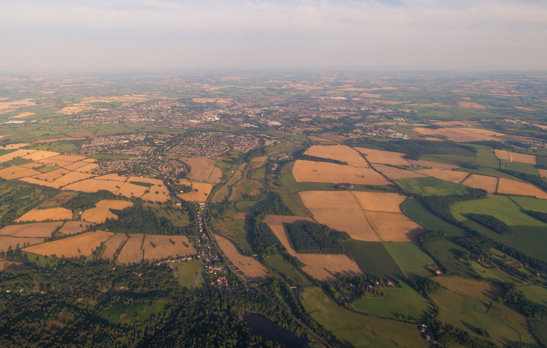 Aerial shot of regional area