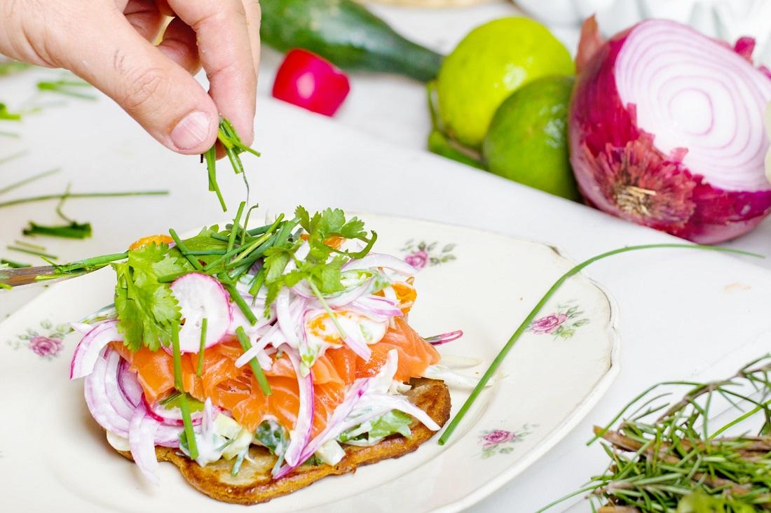 Person preparing healthy food