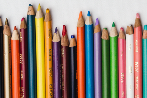 Pencils lined up unevenly