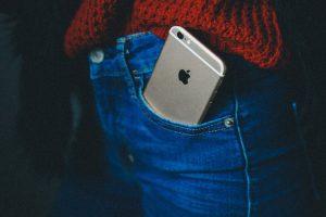 Phone sitting in pants pocket