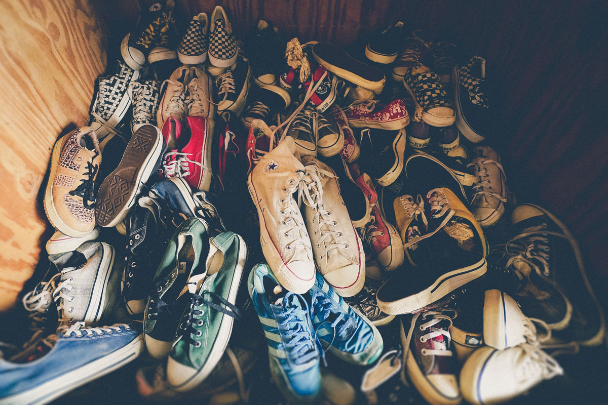 pile of old shoes