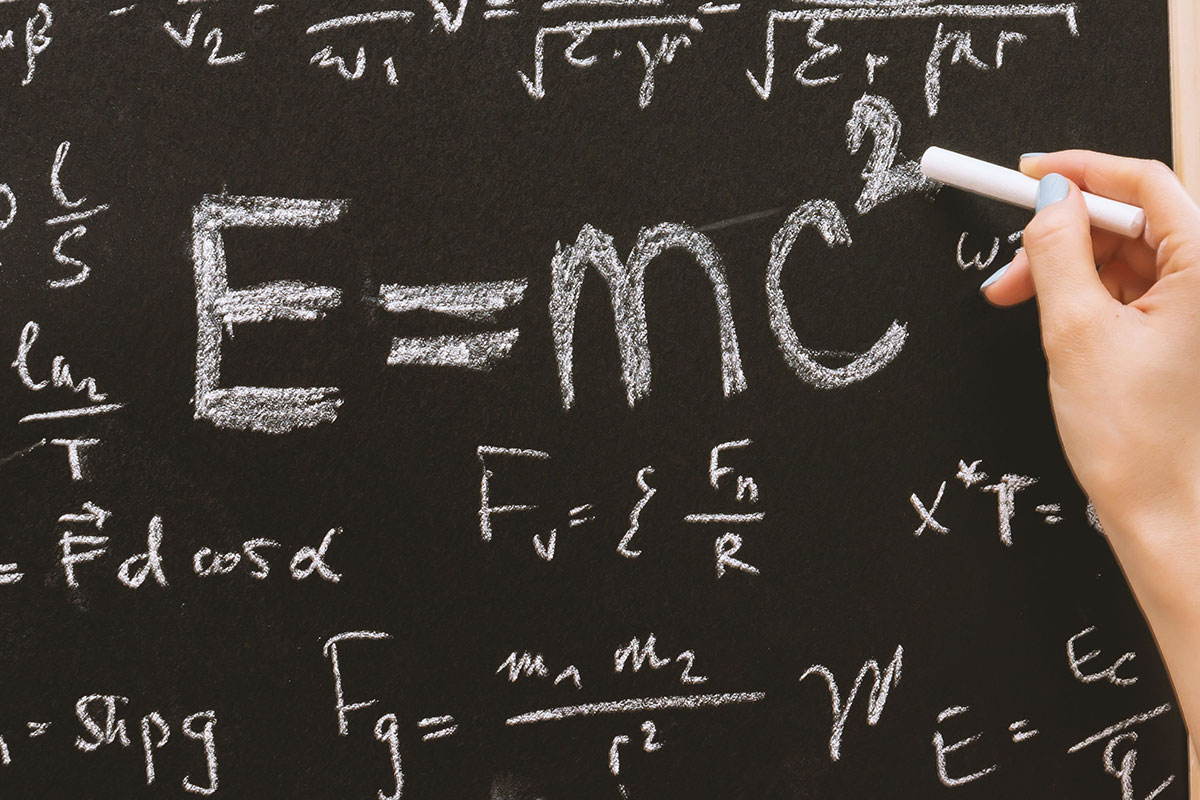 Science equations on blackboard