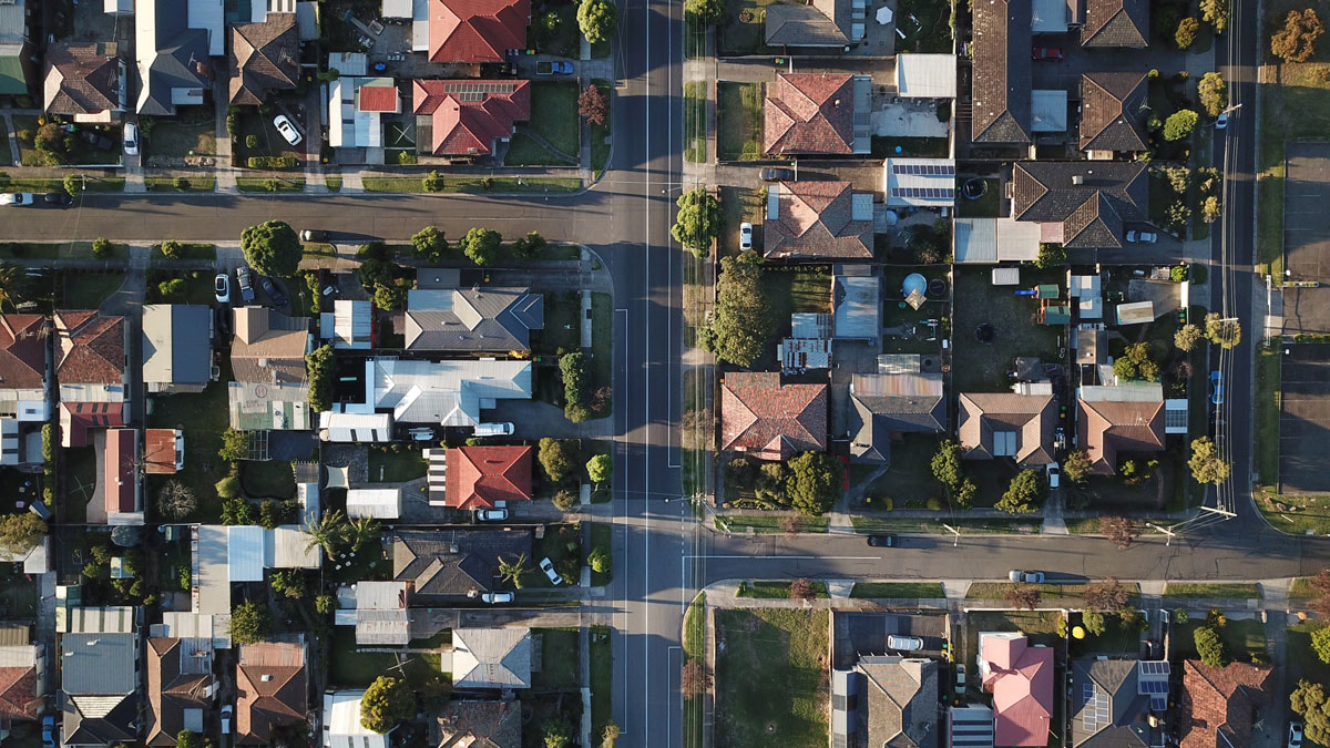 aerial view of suburban streets
