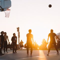 Team playing basketball