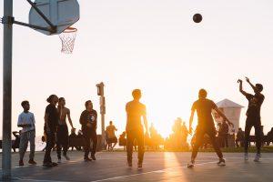 Team playing basketball