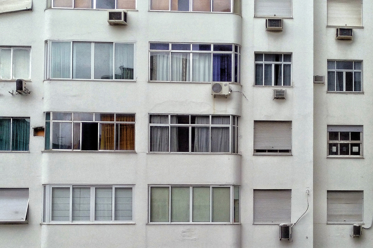 Air conditioning units on a wall