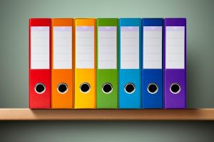 rainbow files on shelf