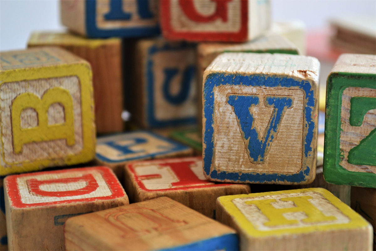 Colourful letter blocks