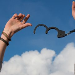 person breaking free from handcuffs