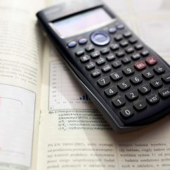 Calculator on a maths textbook