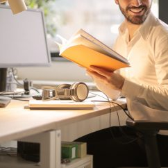 person working and smiling