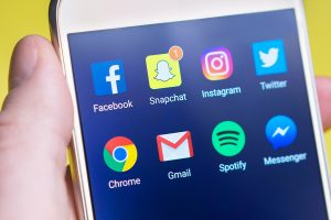social media apps on a smartphone