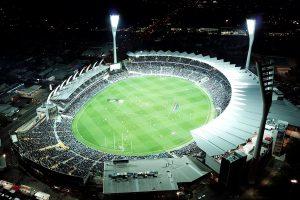 sports stadium in the dark