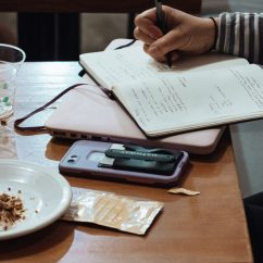 person studying in a cafe