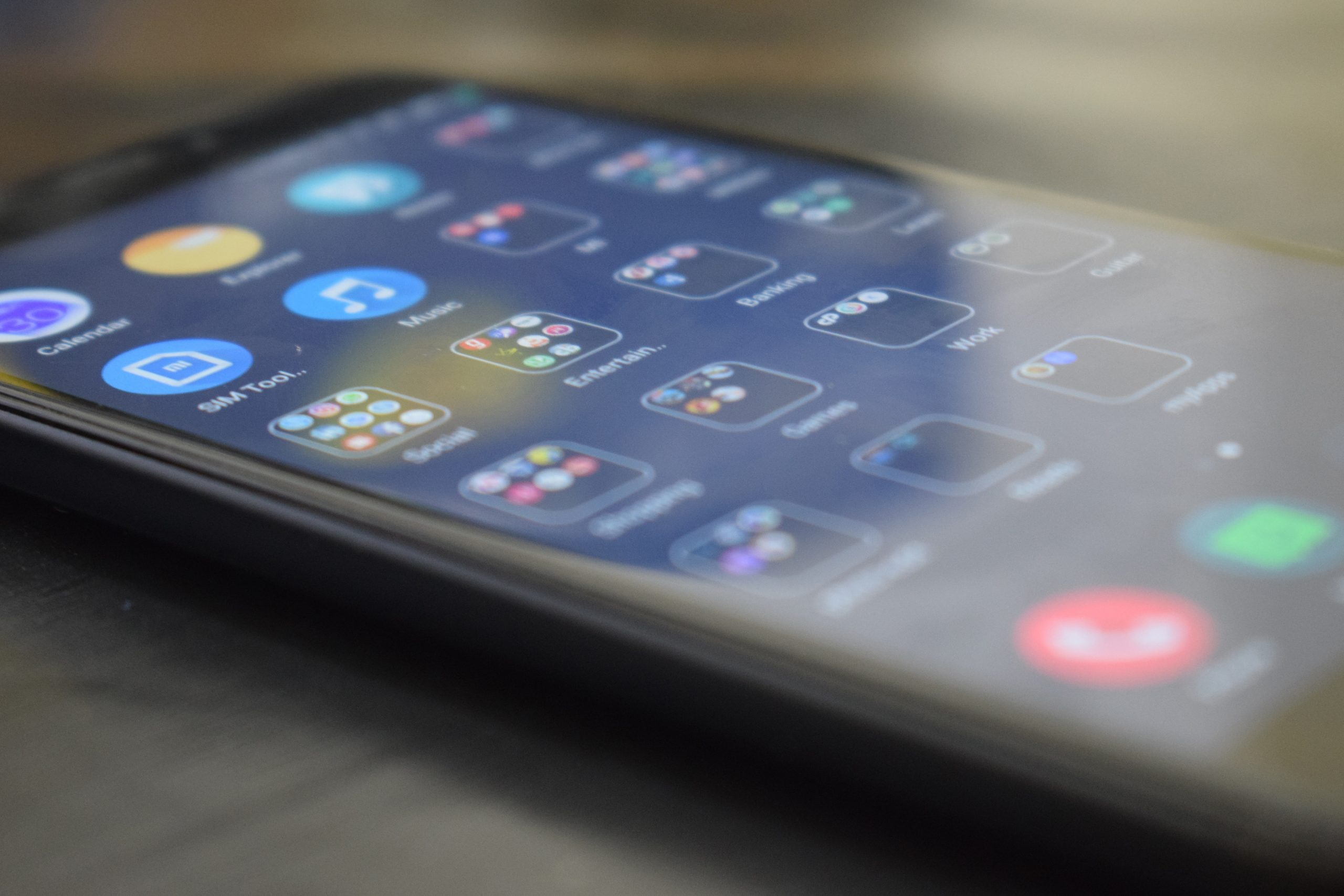 Close up image of a phone screen displaying app icons