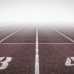 Foggy view of a race track marked with numbers